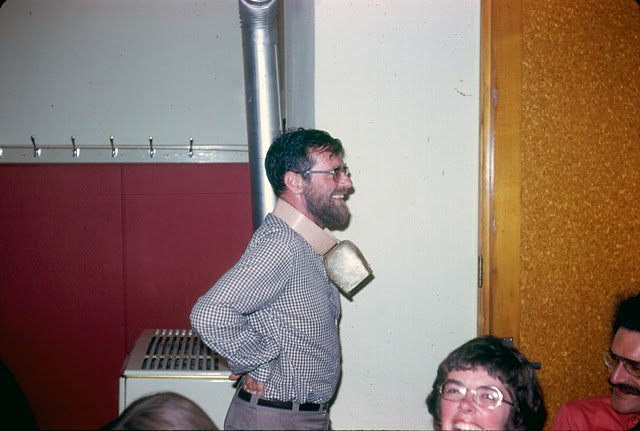 Dijkstra wearing a cow bell, 1973