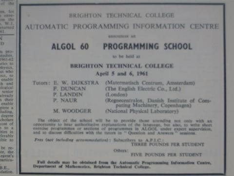 ALGOL 60 Programming School at Brighton Technical College, April 1961